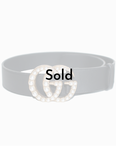 Gucci leather belt with pearls