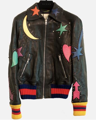 Gucci Intarsia kurtka skórzana