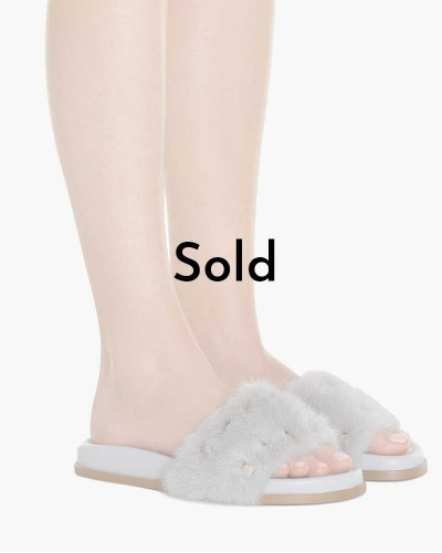 Valentino fur slippers